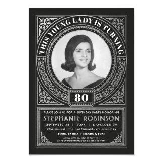 Milestone Birthday Invitations Photo Silver Foil