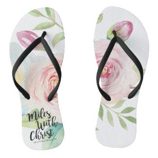 MilesWithChrist.com Watercolor Floral Flip Flops