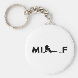 milf basic round button keychain