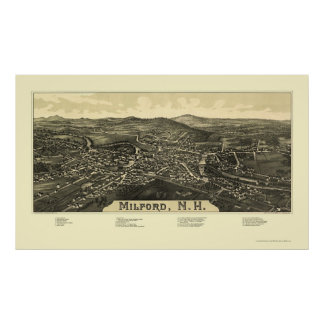 Milford, NH Panoramic Map - 1886 Poster