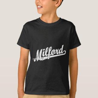Milford script logo in white distressed T-Shirt