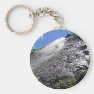 Milford Sound (Piopiotahi) Waterfall Up Close POV Basic Round Button Keychain