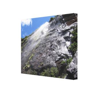 Milford Sound (Piopiotahi) Waterfall Up Close POV Canvas Print