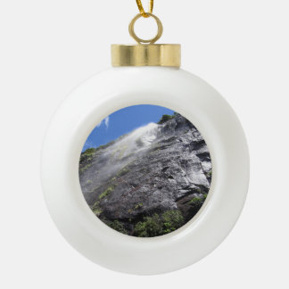 Milford Sound (Piopiotahi) Waterfall Up Close POV Ceramic Ball Ornament