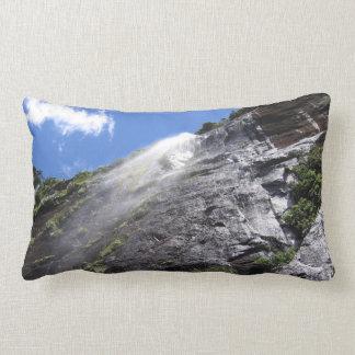 Milford Sound (Piopiotahi) Waterfall Up Close POV Lumbar Pillow