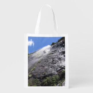 Milford Sound (Piopiotahi) Waterfall Up Close POV Reusable Grocery Bags