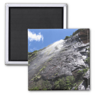 Milford Sound (Piopiotahi) Waterfall Up Close POV Square Magnet