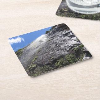 Milford Sound (Piopiotahi) Waterfall Up Close POV Square Paper Coaster