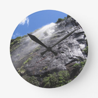 Milford Sound (Piopiotahi) Waterfall Up Close POV Wall Clocks