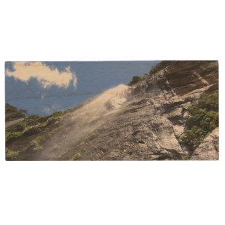 Milford Sound (Piopiotahi) Waterfall Up Close POV Wood USB 2.0 Flash Drive
