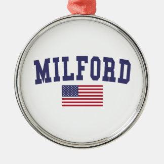 Milford US Flag Metal Ornament