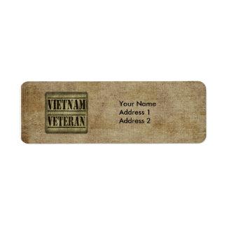 Militaires de vétéran du Vietnam Étiquette D'adresse Retour