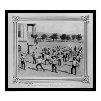 Military Academy Students Fencing in Istanbul 1885 Poster