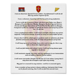 military advisor green berets creed print
