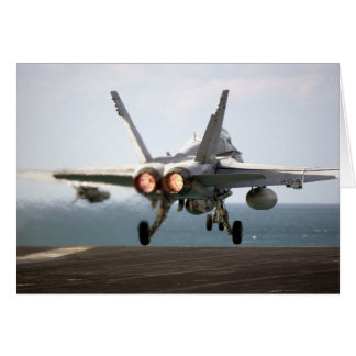 Military aircraft launching off aircraft carrier card