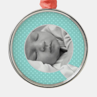 Military Baby and Teal Polka Dots Silver-Colored Round Ornament