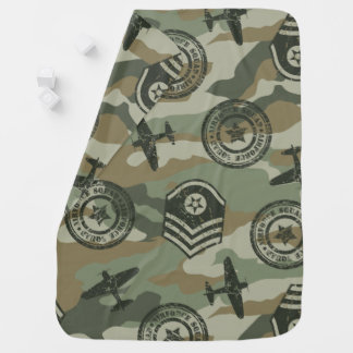 Military badges baby blanket