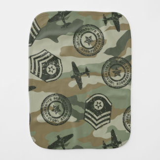 Military badges burp cloth
