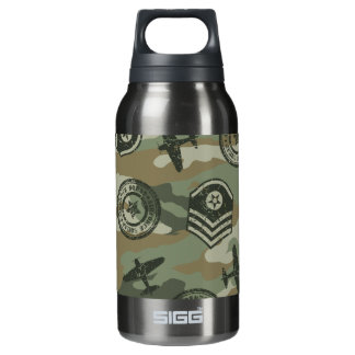 Military badges insulated water bottle