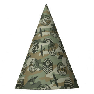 Military badges party hat