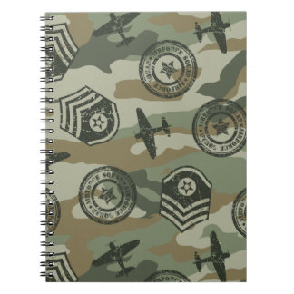 Military badges spiral notebooks