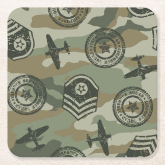 Military badges square paper coaster