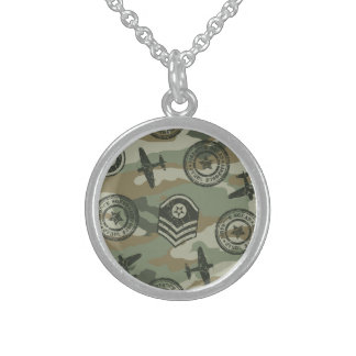 Military badges sterling silver necklace