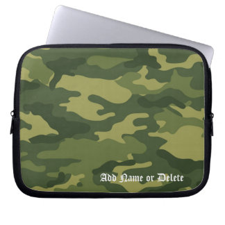 Military Camo Pattern with Name Laptop Computer Sleeves