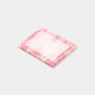 Military Camouflage Girly Pink Monogram Initials Post-it Notes