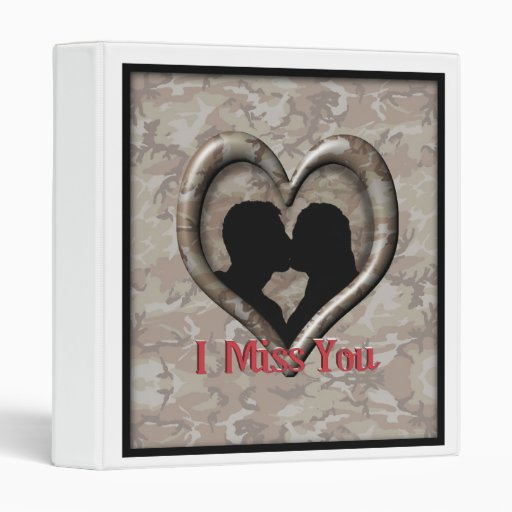 """Military Camouflage """"Miss You"""" 3 Ring Binder"""