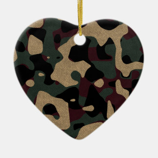 military camouflage pattern ceramic heart ornament