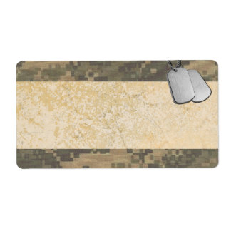 Military Camouflage with Dog Tags Shipping Label