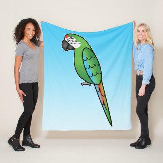 Military Cartoon Macaw Parrot Bird Fleece Blanket