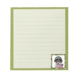 Military  Chihuahua  dog notepad