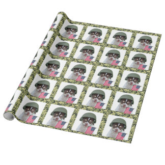 Military Chihuahua dog wrapping paper
