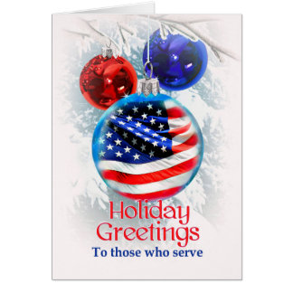 Military Christmas American Flag in Ornament Card