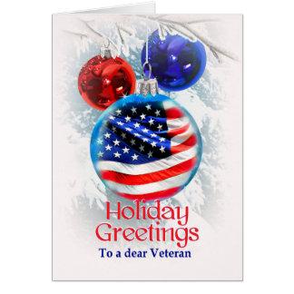 Military Christmas American Flag to Veterans Card