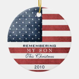Military Christmas Round Ceramic Ornament