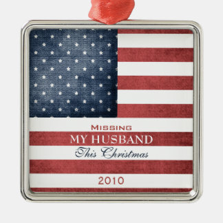 Military Christmas Silver-Colored Square Ornament