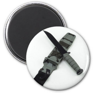 military combat knife cross pattern ka-bar style 2 inch round magnet