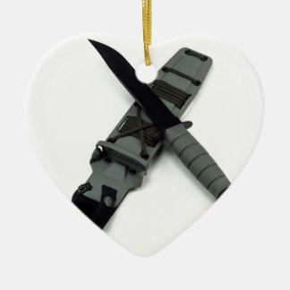 military combat knife cross pattern ka-bar style ceramic heart ornament
