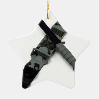 military combat knife cross pattern ka-bar style ceramic star ornament