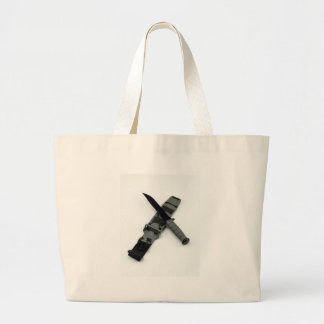 military combat knife cross pattern ka-bar style large tote bag