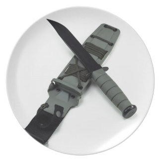 military combat knife cross pattern ka-bar style plate