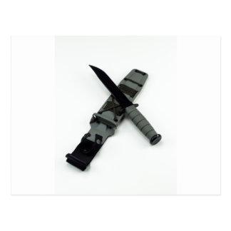 military combat knife cross pattern ka-bar style postcard