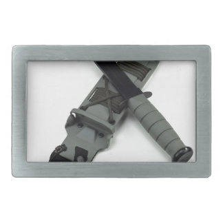 military combat knife cross pattern ka-bar style rectangular belt buckles