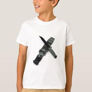 military combat knife cross pattern ka-bar style T-Shirt
