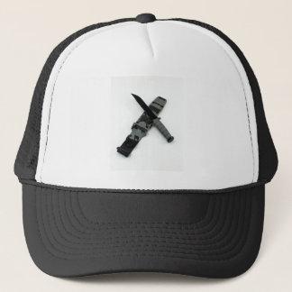 military combat knife cross pattern ka-bar style trucker hat