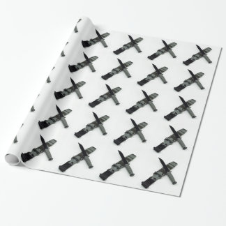 military combat knife cross pattern ka-bar style wrapping paper
