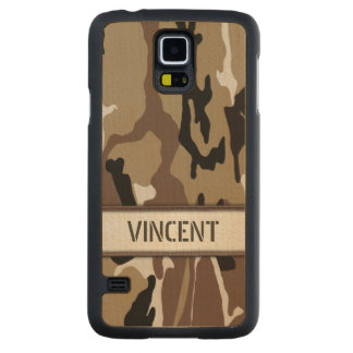 Military Desert Camo Name Template Carved® Maple Galaxy S5 Slim Case